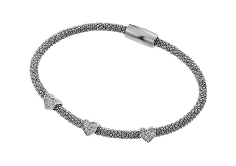 .925 Sterling Silver Black Rhodium Plated Three Heart Clear Cubic Zirconia Inlay Bracelet - AnaDx Collection