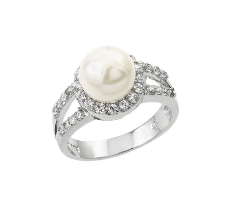 .925 Sterling Silver Cubic Zirconia Pearl Fashion Right Hand Ring - AnaDx Collection