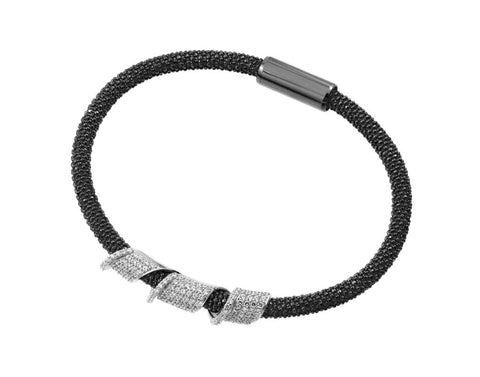 .925 Sterling Silver Black Rhodium Plated Twirl Bracelet - AnaDx Collection