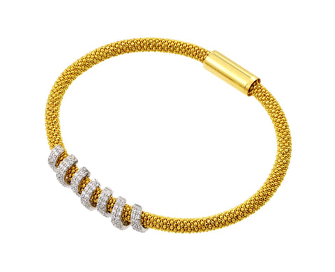 .925 Sterling Silver Gold Plated Thin Twirl Bracelet: SOD