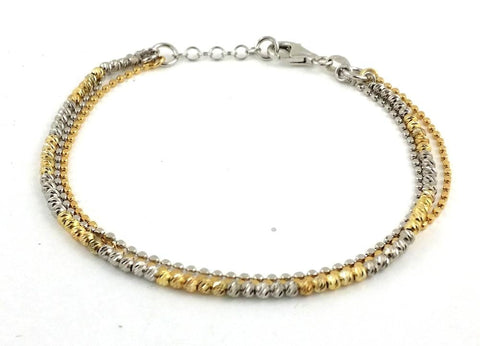 .925 Sterling Silver  Three Strand Two-Toned Diamond-cut Bead  Bracelet - AnaDx Collection