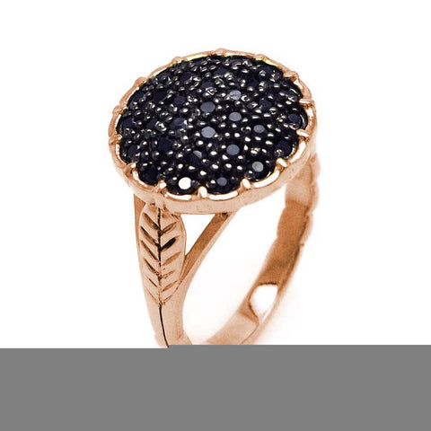 .925 Sterling Silver Black Rhodium Gold Plated Pave Set Black Cubic Zirconia Circle Ring - AnaDx Collection