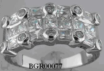 .925 Sterling Silver  Sterling Silver Rhodium Plated Multi Shaped Clear Cubic Zirconia Ring - AnaDx Collection