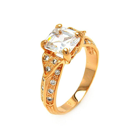 .925 Sterling Silver Gold Plated Clear Princess Cut Cubic Zirconia Ring
