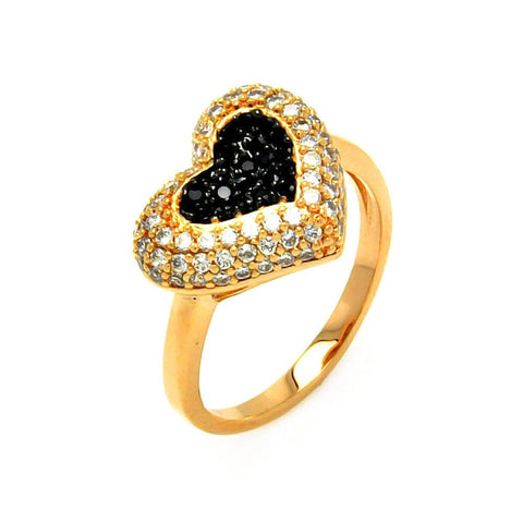 .925 Sterling Silver Gold Black Rhodium Plated Clear Black Pave Set Heart Ring