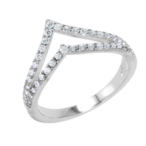.925 Sterling Silver  Sterling Silver Rhodium Plated Clear Pave Set Cubic Zirconia Double Chevron Ring - AnaDx Collection