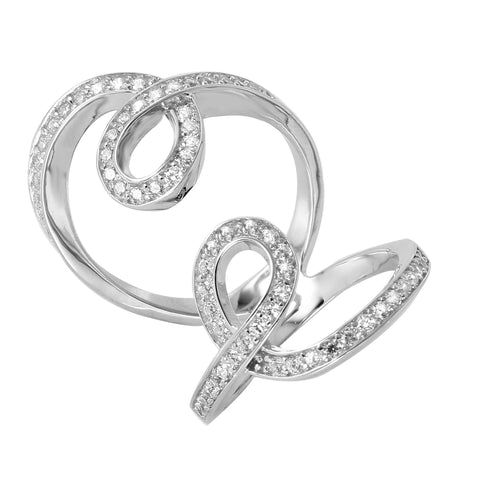 .925 Sterling Silver  Sterling Silver Rhodium Plated Double Looped Cubic Zirconia Ring - AnaDx Collection