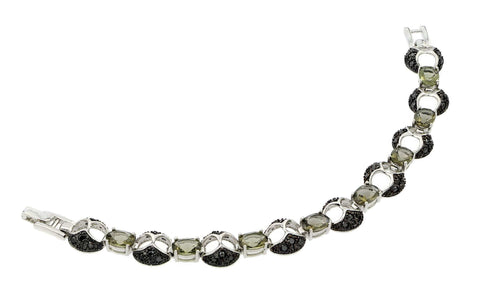 .925 Sterling Silver Black Rhodium Plated Green &  Black Cubic Zirconia Bracelet - AnaDx Collection
