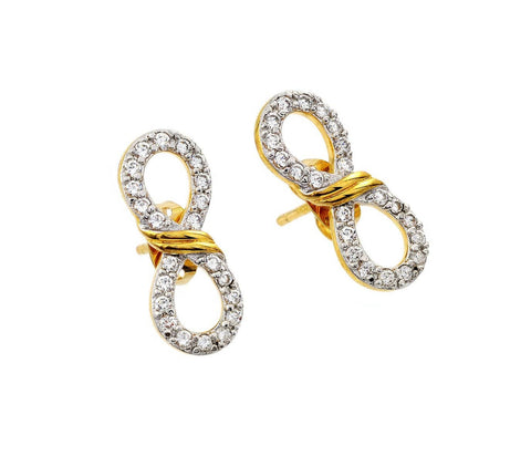 .925 Sterling Silver Gold Rhodium Plated Ribbon Infinity Cubic Zirconia Stud Earring: SOD
