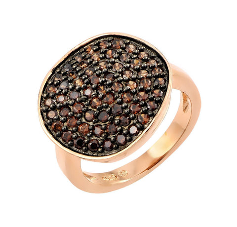 .925 Sterling Silver Black Rhodium Rose Gold Plated Colored Cubic Zirconia Pave Set Flat Disc Ring - AnaDx Collection