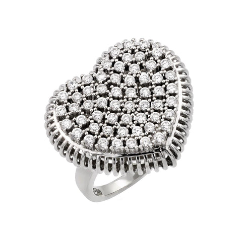 .925 Sterling Silver  Sterling Silver Rhodium Plated Pave Set Clear Cubic Zirconia Heart Ring - AnaDx Collection