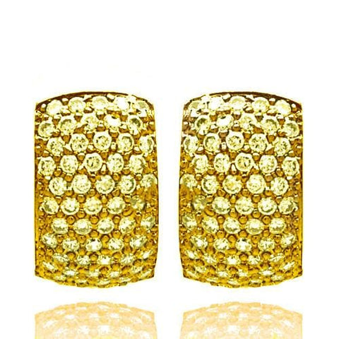 .925 Sterling Silver gold Rhodium Plated Pave Clear Cubic Zirconia Hoop Earring: SOD
