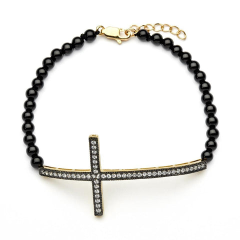 .925 Sterling Silver Black &  Gold Rhodium Plated Sideways Cross Cubic Zirconia Black Amathyst Beads Bracelet - AnaDx Collection