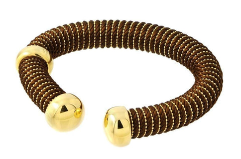 .925 Italian sterling silver  gold plated bracelet with brown silk cord. - AnaDx Collection