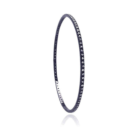 .925 Sterling Silver Black Rhodium Plated Cubic Zirconia Bangle Bracelet - AnaDx Collection