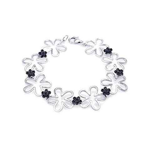 .925 Sterling Silver Black &  Rhodium Plated Multiple Open Flower Cubic Zirconia Bracelet - AnaDx Collection