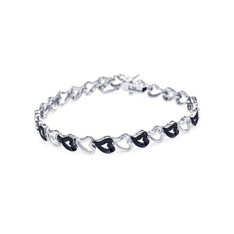 .925 Sterling Silver Black &  Rhodium Plated Multiple Open Heart Cubic Zirconia Bracelet - AnaDx Collection