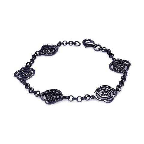 .925 Sterling Silver Black Rhodium Plated Open Flower Outline Bracelet - AnaDx Collection