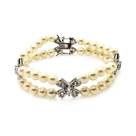 .925 Sterling Silver Cross Cubic Zirconia Pearl Bracelet - AnaDx Collection