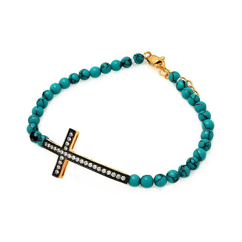 .925 Sterling Silver Gold &  Black Rhodium Plated Sideways Cross Cubic Zirconia Turquoise Bead Bracelet - AnaDx Collection