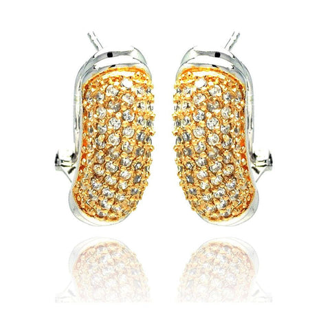 .925 Sterling Silver Gold &  Silver  Rhodium Plated Clear Round Cubic Zirconia Stud Earring - AnaDx Collection