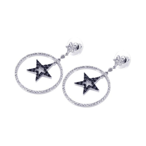 .925 Sterling Silver Black &  Silver Rhodium Plated Open Circle Star Cubic Zirconia Dangling Earring - AnaDx Collection