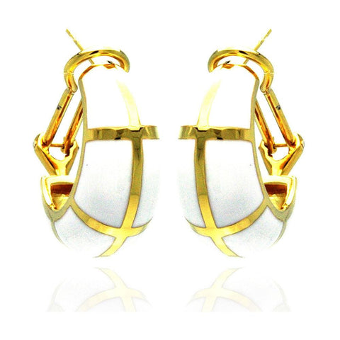.925 Sterling Silver Gold Rhodium Plated White Enamel Lever Back Earring: SOD