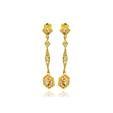 .925 Sterling Silver Gold Rhodium Plated Marquise Cubic Zirconia Dangling Stud Earring: SOD