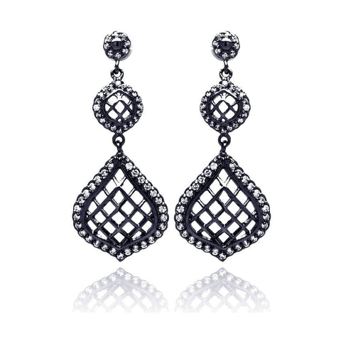 .925 Sterling Silver Black Rhodium Plated Round Pear Teardrop Cubic Zirconia Dangling Stud Earring - AnaDx Collection