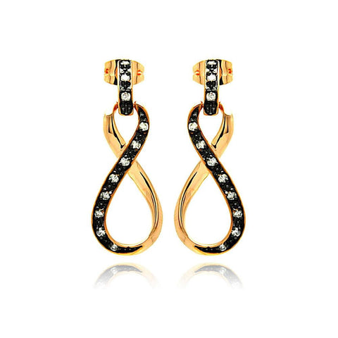 .925 Sterling Silver Black &  Gold Rhodium Plated Ribbon Cubic Zirconia Dangling Earring - AnaDx Collection