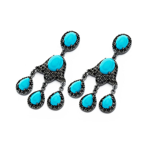 .925 Sterling Silver Black Rhodium Plated Cubic Zirconia Teardrop Turquoise Three Wire Strand Earring - AnaDx Collection