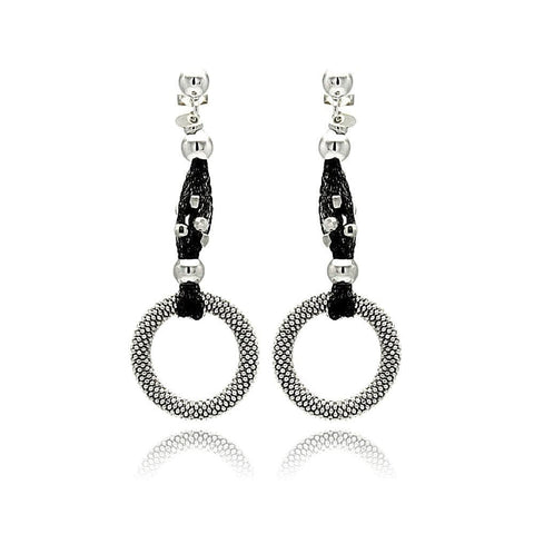.925 Sterling Silver Black &  Rhodium Plated Open Circle Dangling Stud Earring - AnaDx Collection