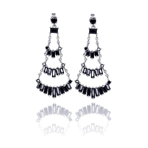 .925 Sterling Silver  Rhodium Plated  Multiple Black Baguette Cubic Zirconia Chandelier Dangling Stud Earring - AnaDx Collection