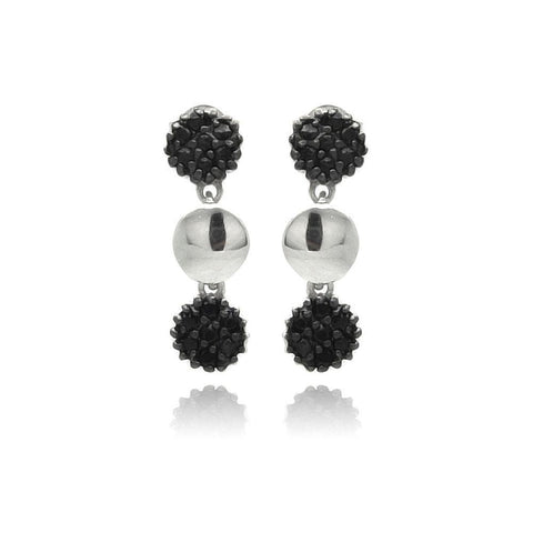 .925 Sterling Silver Black Rhodium Plated  Cluster Cubic Zirconia Dangling Earring - AnaDx Collection
