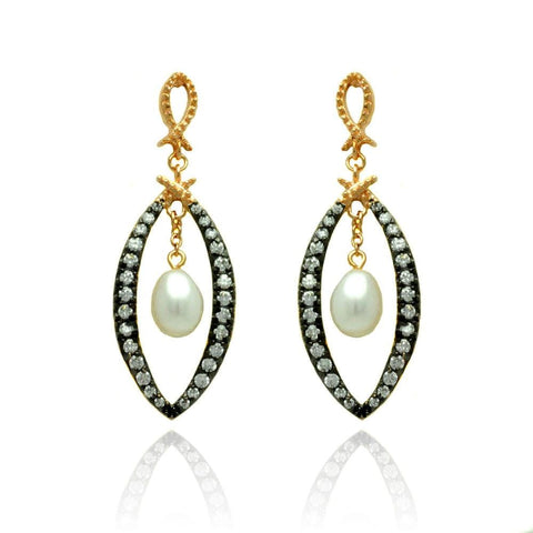 .925 Sterling Silver Black &  Gold Plated Open Marquise Clear Cubic Zirconia Dangling Pearl Stud Earring - AnaDx Collection