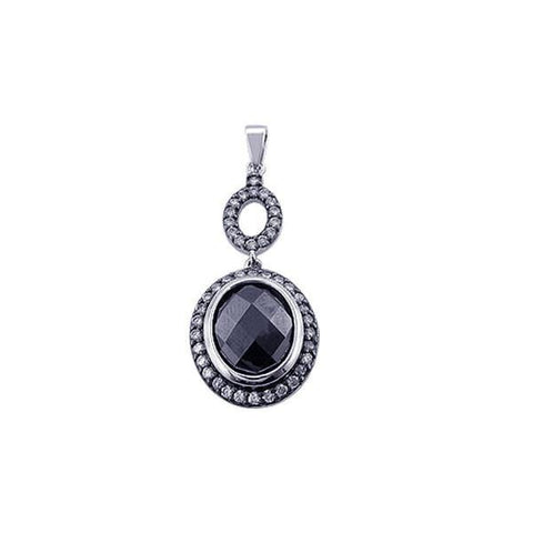 .925 Sterling Silver Black Rhodium Plated Onyx Circle Pendant - AnaDx Collection