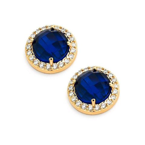 .925 Sterling Silver Gold Plated Blue Center Clear Outline Cubic Zirconia Stud Earring: SOD