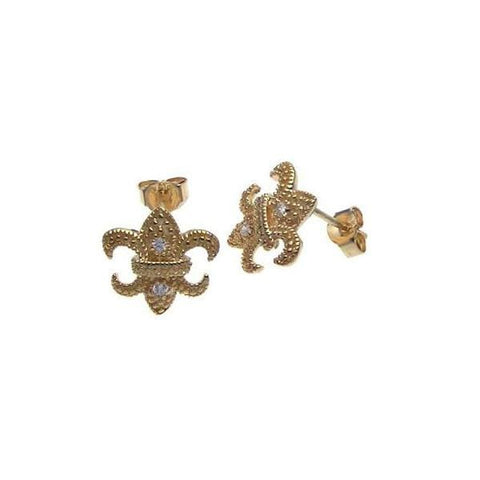 .925 Sterling Silver Gold Rhodium Plated  Fleur De Lis Cubic Zirconia Post Earring: SOD