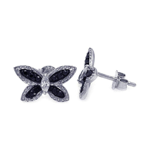 .925 Sterling Silver Black &  Silver Rhodium Plated  Black Butterfly Cubic Zirconia Stud Earring - AnaDx Collection