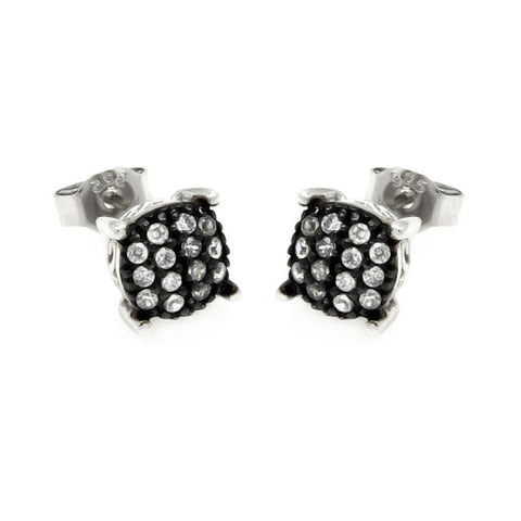 .925 Sterling Silver Black &  Silver Rhodium Plated Round Clear Small Cubic Zirconia Post Earring - AnaDx Collection
