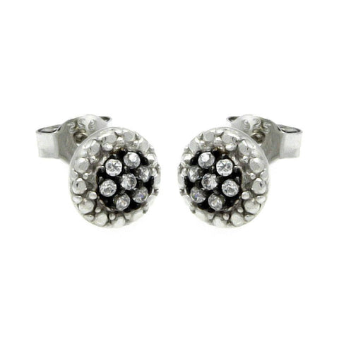 .925 Sterling Silver Black &  Silver Rhodium Plated Round  Cubic Zirconia Stud Earring - AnaDx Collection