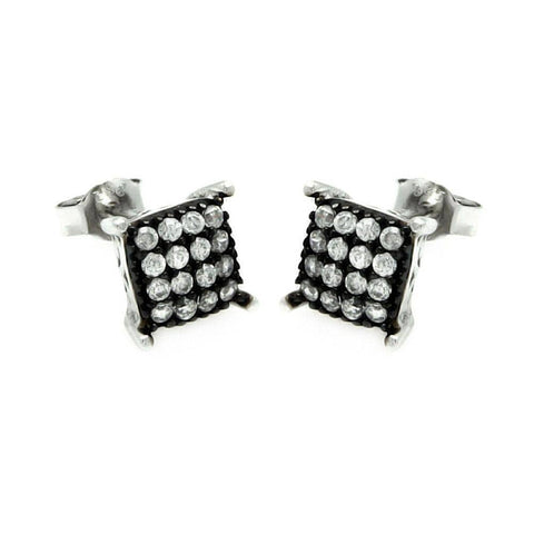 .925 Sterling Silver Black &  Silver Rhodium Plated Square Cubic Zirconia Post Earring - AnaDx Collection