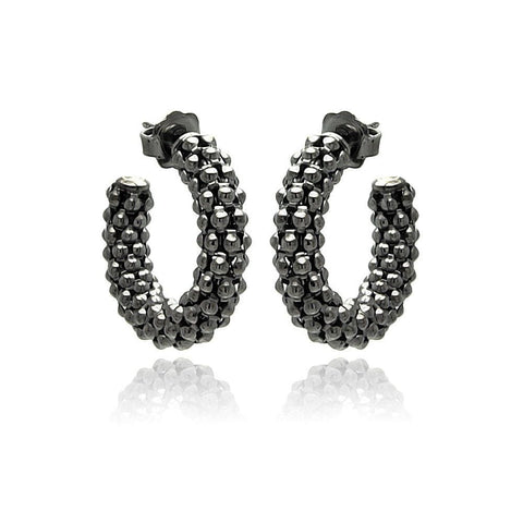 .925 Sterling Silver Black Rhodium Plated Italian Crescent Stud Earring - AnaDx Collection