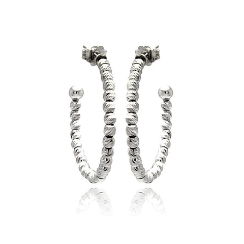 .925 Sterling Silver Black Rhodium Plated Italian Fine Bead Hoop Earring - AnaDx Collection