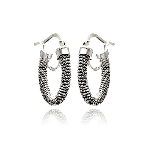 .925 Sterling Silver Black Rhodium Plated Italian Hoop Earring - AnaDx Collection