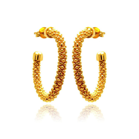 .925 Sterling Silver Gold Plated Crescent Hoop Earring: SOD