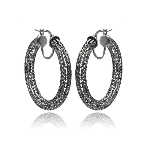 .925 Sterling Silver Black Rhodium Mesh Plated Hoop Earring - AnaDx Collection