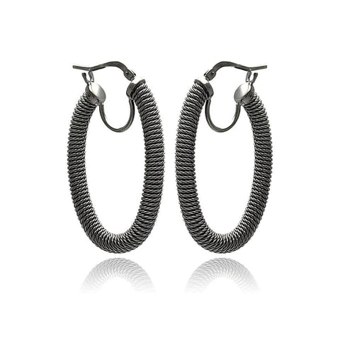 .925 Sterling Silver Black Rhodium Plated Hoop Earring - AnaDx Collection