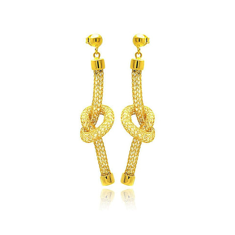 .925 Sterling Silver Gold Plated Dangling Mesh Center Knot Stud Earring: SOD