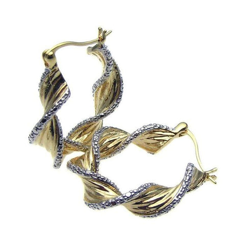 .925 Sterling Silver Gold Rhodium Plated  Twisted Ornament Cubic Zirconia Hoop Earring: SOD